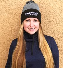 Grey and Black Rockstarlette Outdoors Logo Knit Cap with Pom Pom, NEW!