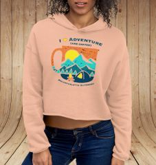 I Love Adventure (and Coffee), CROPPED Fleece Lined Pullover Hoodie, Peach, NEW!