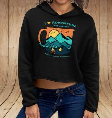I Love Adventure (and Coffee), CROPPED Fleece Pullover Hoodie, Black, NEW!