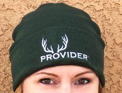 PROVIDER Hunting Logo Knit Beanie, NEW! Dark Green