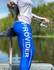 PROVIDER™ Fishing Logo CAPRI YOGA Leggings, Wide Yoga Waistband, Top Stitching, Red White and Blue