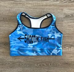 Sports Bra/ Athletic Top, Shootin' Fish, Bowfishing Logo NEW! Moisture Wicking, Full Support