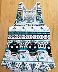Tattoo Pattern Racerback Tank, High Quality Sublimated Fabric Print