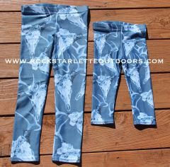 Youth Leggings, Deer Antler, Blue Version, (2T-14)