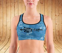 Sports Bra/ Athletic Top, Shootin' Fish, Bowfishing Logo, Moisture Wicking
