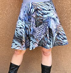 Turkey Feather Pattern Flared Skirt, NEW!