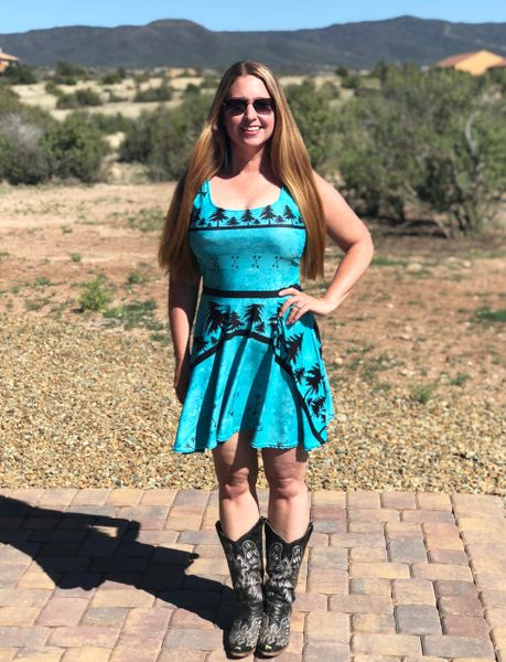 Sun Dress, Teal Arrow Logo, Flared Skirt, NEW!