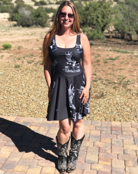 Sun Dress, Rockstarlette Outdoors Archery Moose Logo, Flared Skirt
