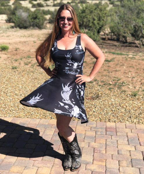 Sun Dress, Rockstarlette Outdoors Archery Moose Logo, Flared Skirt