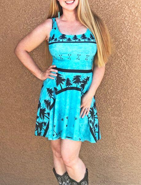 Sun Dress, Teal Arrow Logo, Flared Skirt, NEW!