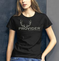 PROVIDER Hunting Logo T shirt, Camo Logo/Black Shirt, Relaxed Fit Crewneck, NEW!