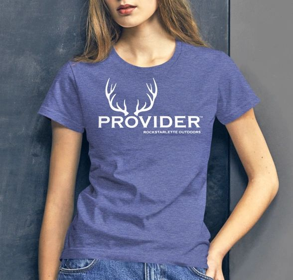 PROVIDER™ Hunting Logo T shirt, Loose Fit Crewneck, Heather Blue or Black