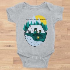 Mother/Daughter Camping Logo Baby Onesie: Encourage. Inspire. Empower. Black or Heather Grey NEW!