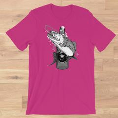 Fishing and Beer, Crewneck T Shirt, Green, Hot Pink, Deep Teal S-3XL