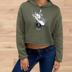 Fishing and Beer Logo, CROPPED Fleece Lined Pullover Hoodie, Olive, NEW!