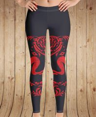 Tribal Sheep Leggings, Dark Blue and Red