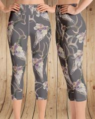 Deer Antler Leggings, Yoga CAPRI, Wide Waistband (option to make full length)