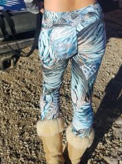 Turkey Feather Leggings, Yoga CAPRI Version, Wide Waistband