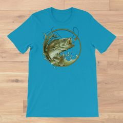 Bass Fishing Crewneck T Shirt, Aqua or Mint S-3XL