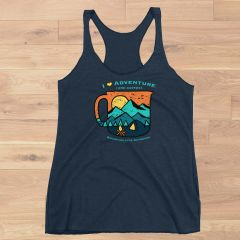 I Love Adventure and Coffee Tank Top, Navy or Vintage Purple, NEW!