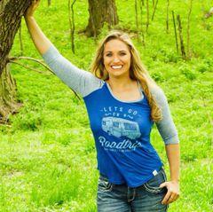 Lets Go On A Roadtrip, Blue, Raglan 3/4 Sleeve Rockstarlette Outdoors T Shirt