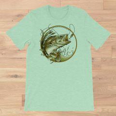 Bass Fishing Crewneck T Shirt, Mint or Aqua S-3XL