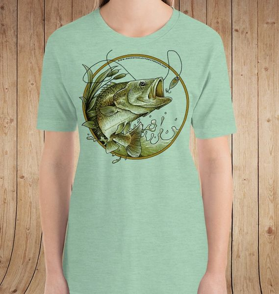 Bass Fishing Relaxed Fit T Shirt, S-3XL (0-20), Heather Mint