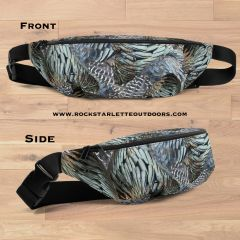 Turkey Feather Pattern Fanny Pack, Made in the USA, Water Resistant