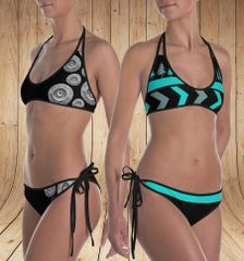 Reversible Bikini, Get Two Swimsuits in One, Shotgun Pattern and Teal Trees Pattern, Made in the USA