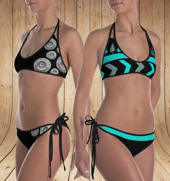 Reversible Bikini, Shotgun Pattern and Teal Trees Pattern, 2 Bikinis for the Price of 1, Made in the USA