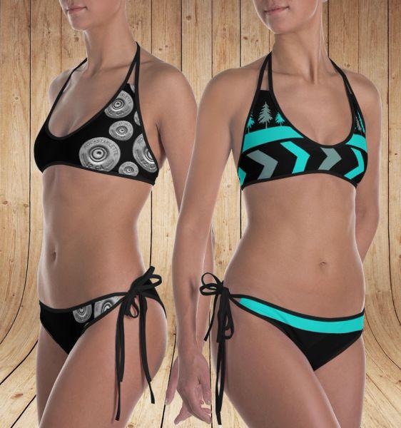 Reversible Bikini, Shotgun Pattern and Teal Trees Pattern, 2 Bikinis for the Price of 1