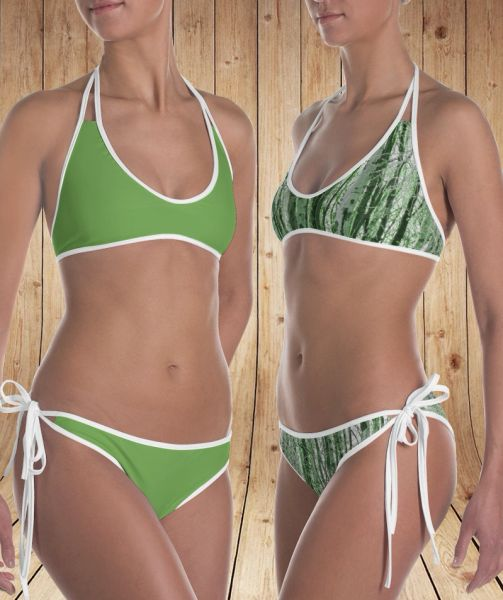 Reversible Bikini, Camo Birch Tree Pattern and Solid Leaf Green with Logo, 2 Bikinis For the Price of 1