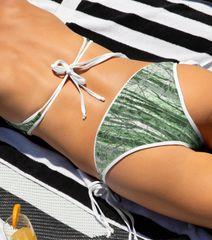 Separates, Reversible Bikini Bottom, Camo Birch Tree Pattern and Solid Leaf Green, 2 in 1