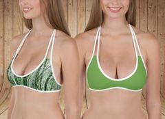 Separates, Reversible Bikini Top Only, Camo Birch Tree Pattern and Solid Leaf Green, Get 2 Bikini Tops in 1