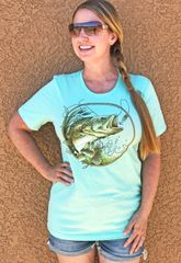 Bass Fishing Crewneck T Shirt, Mint or Aqua S-3XL