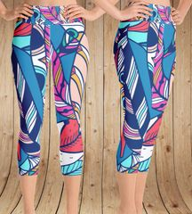 Bright Feather Leggings, CAPRI, Option for Wide Yoga Waistband