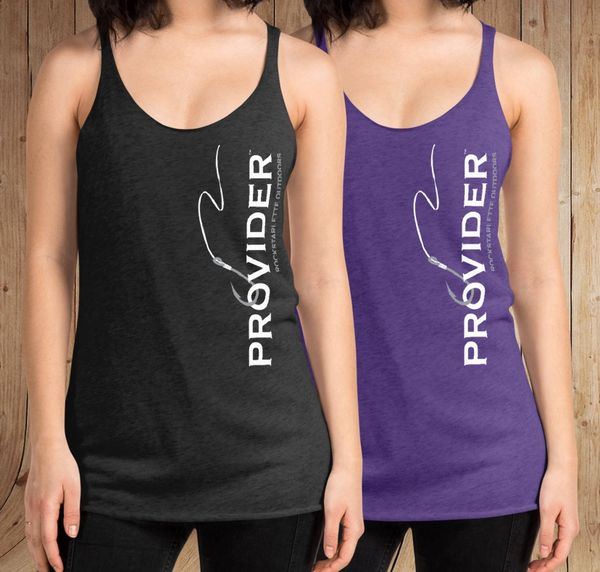 PROVIDER™ Fishing Logo Tank Top, Heather Purple or Heather Black, NEW!