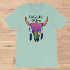 Southwestern Sunset Skull Crewneck T Shirt, S-3XL, Dusty Mint, Orchid or Raspberry