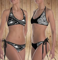 Reversible Bikini, Get Two Swimsuits in One, Camping Pattern and Shotgun Pattern, Made in the USA