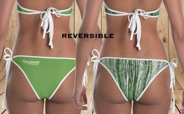 Separates: Reversible Bikini Bottoms, Camo Birch Tree Pattern and Solid Leaf Green