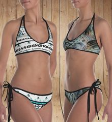 Reversible Bikini, Two Swimsuits in One, Turkey Feather Pattern and Tattoo Pattern, Made in the USA