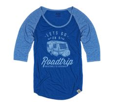 SALE 30% OFF, Lets Go On A Roadtrip, Blue, Raglan 3/4 Sleeve Rockstarlette Outdoors T Shirt