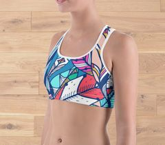 Sports Bra/ Athletic Top, Bright Feather Pattern, Moisture Wicking, Full Support