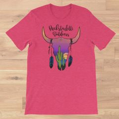 Southwestern Sunset Skull Crewneck T Shirt, S-3XL, Raspberry, Dusty Mint or Orchid