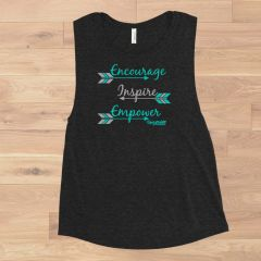 Encourage Inspire Empower, Relaxed Fit Muscle Tank Top, NEW! Charcoal or White