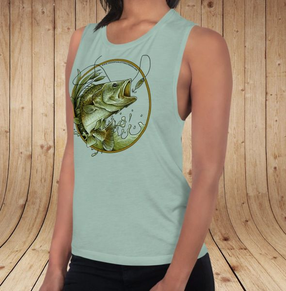 Bass Fishing Logo, Relaxed Fit Muscle Tank Top, NEW! Mint or Peach