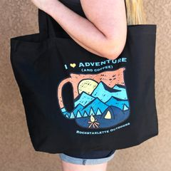 Organic Twill Large Eco Tote Bag: I Love Adventure (and Coffee)
