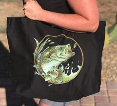 Tote Bag, XL Organic Twill Large Eco Tote Bag: Bass Fishing Logo