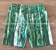 Green Camo Birch Pattern Athletic Shorts, Yoga Waistband