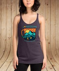 I Love Adventure and Coffee Tank Top, Vintage Purple or Navy, NEW!